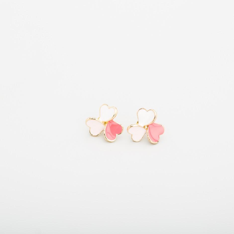Pendiente corazones rosa