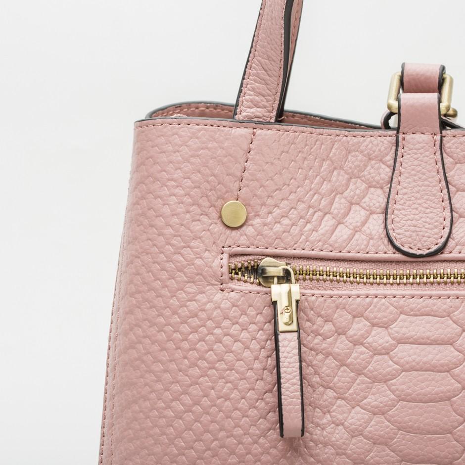 Bolso cuadrado doble asa rosa