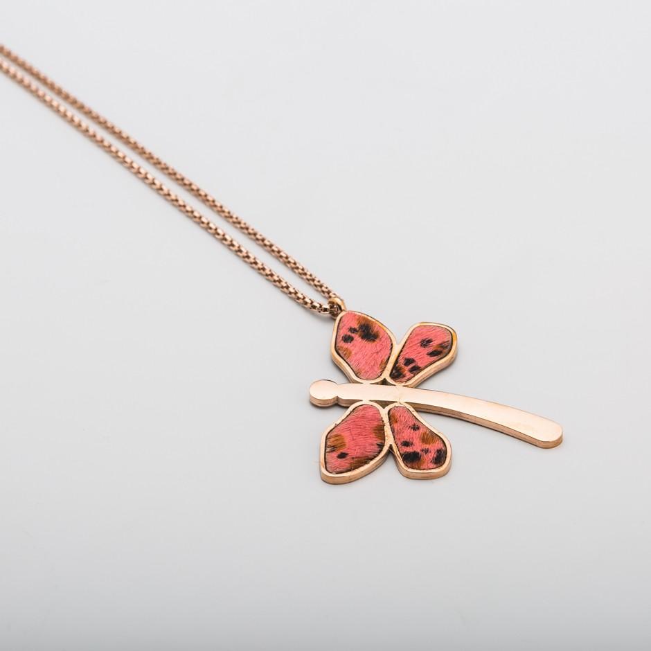 Colgante acero rosado libélula