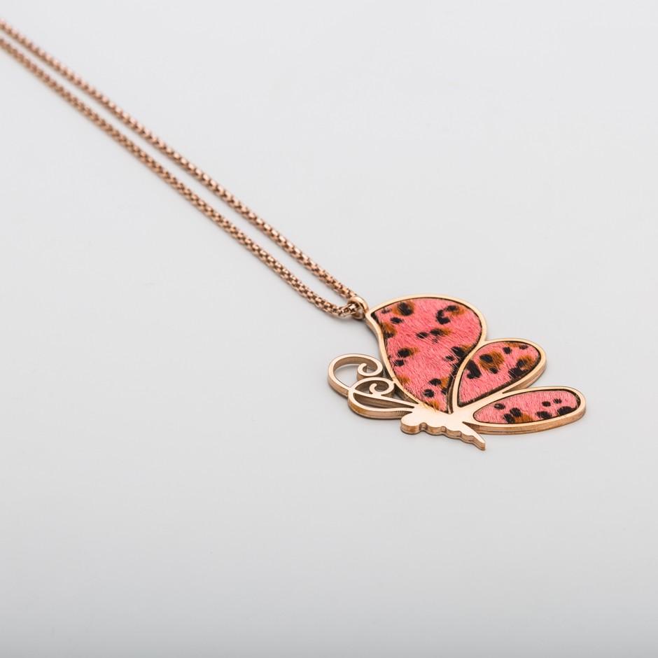 Colgante acero rosado mariposa