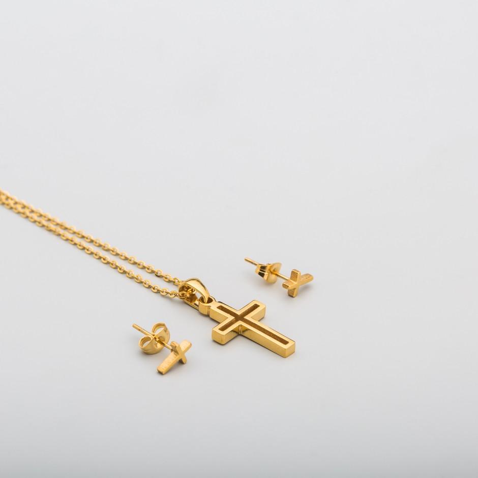 Set acero cruz dorada
