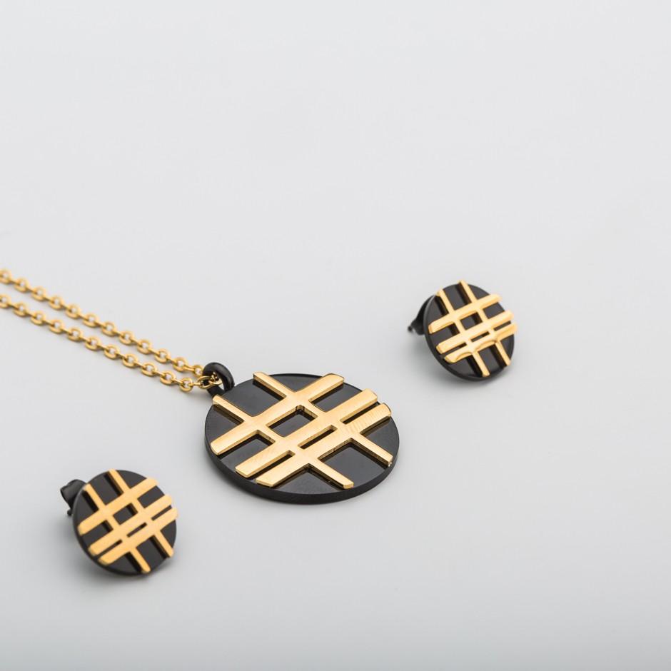 Set acero líneas doradas