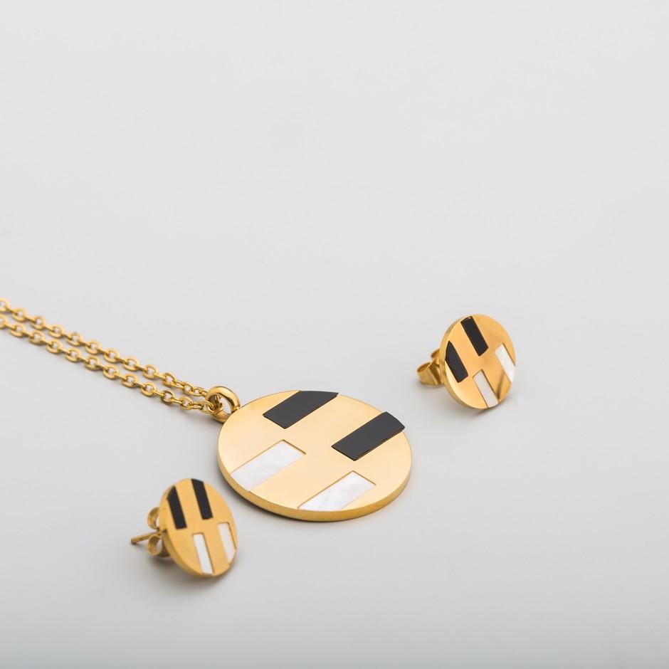 Set acero dorado nácar - negro