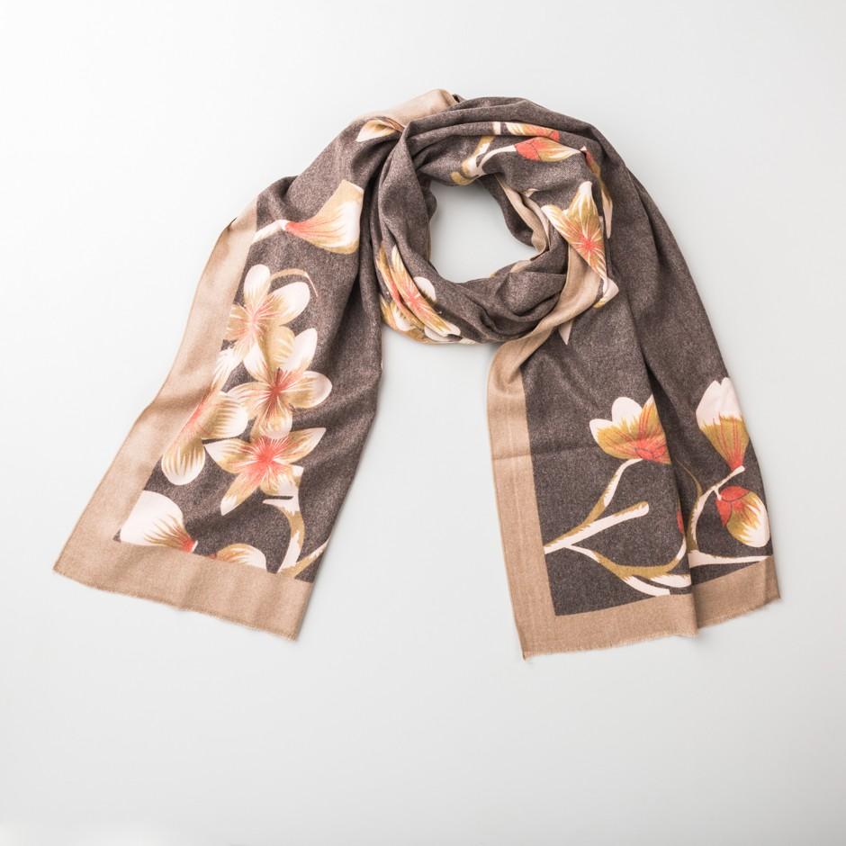 Fular marrón flores