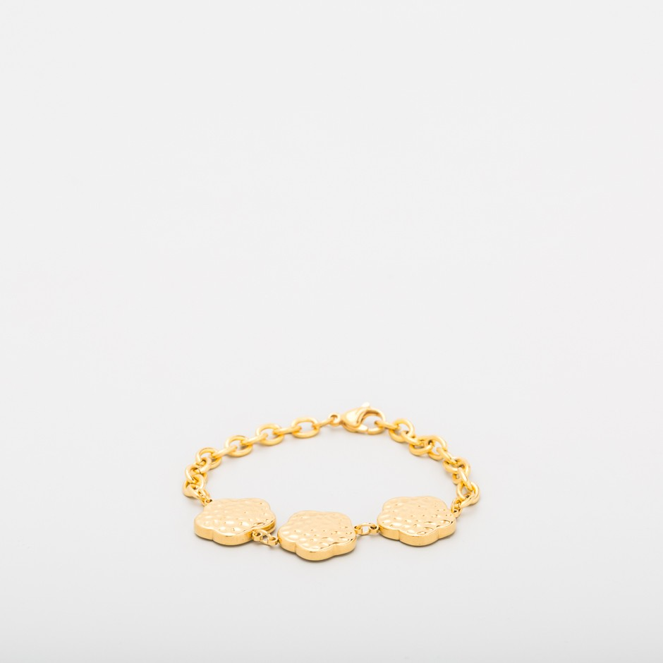 Pulsera dorada trío flor