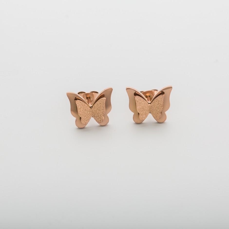Pendiente mariposa acero rosado