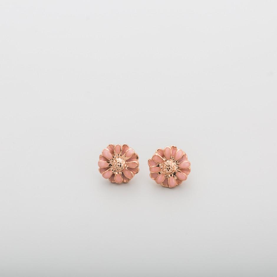 Pendiente flor rosa mini