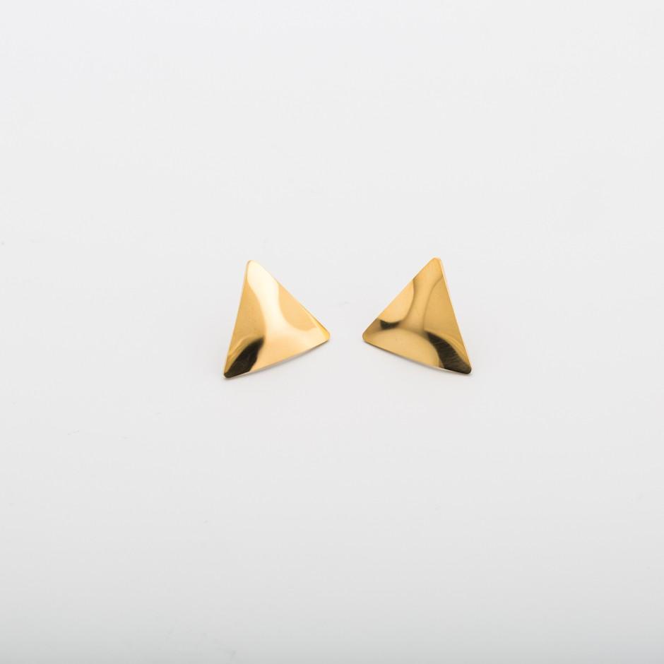 Pendiente acero triángulo dorado