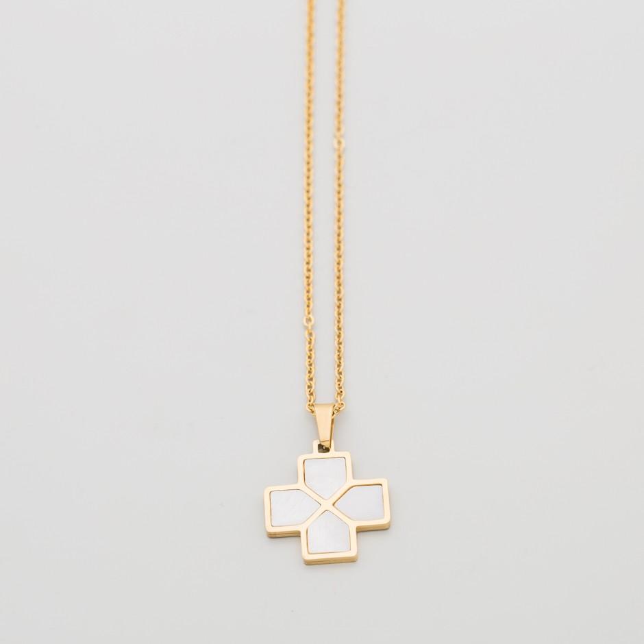 Colgante NORA dorado cruz nácar
