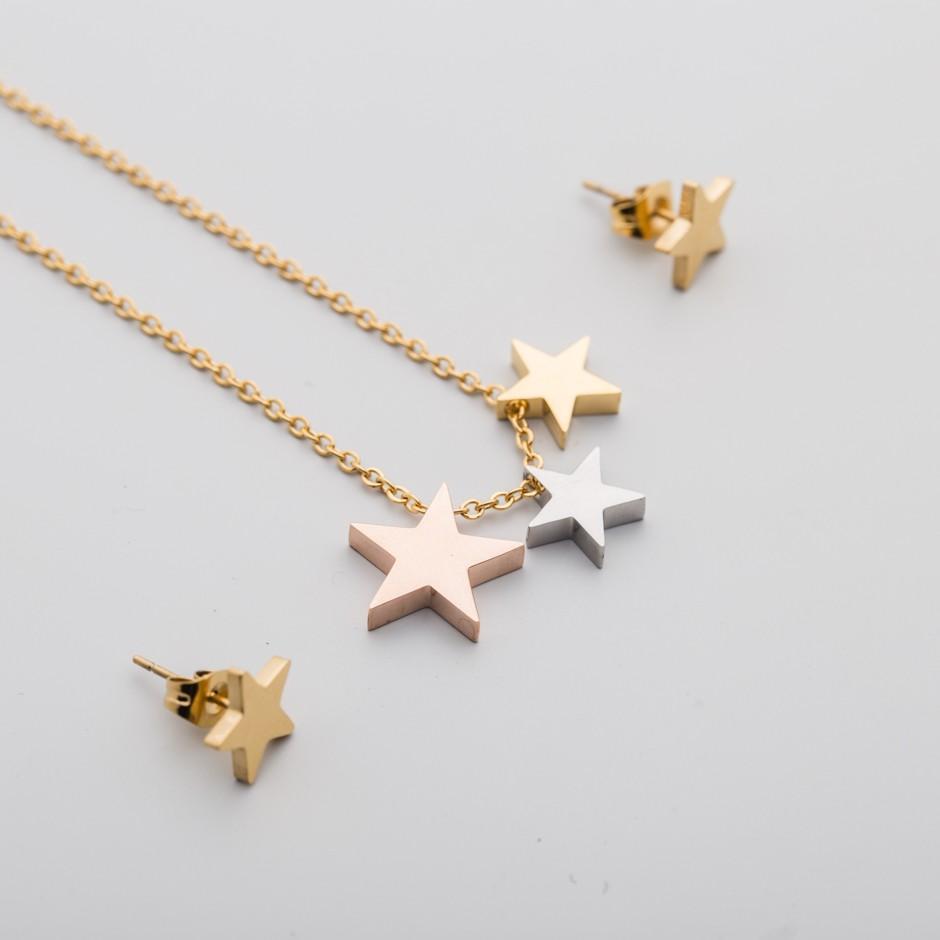 Set LEAH dorado trío stars