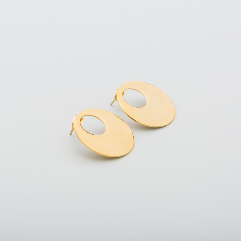 Pendiente acero dorado circular