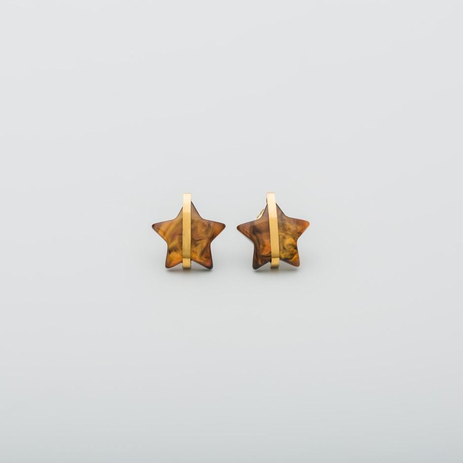 Pendiente estrella marrón