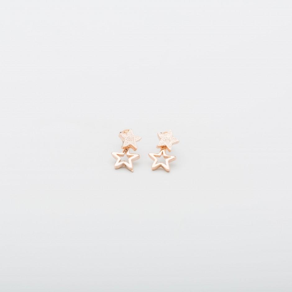 Pendiente doble estrella mini