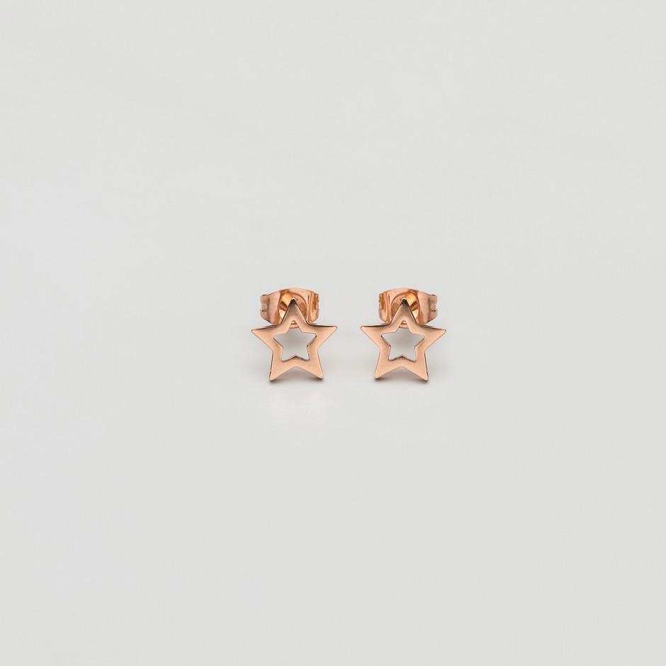 Pendiente estrella rosada mini