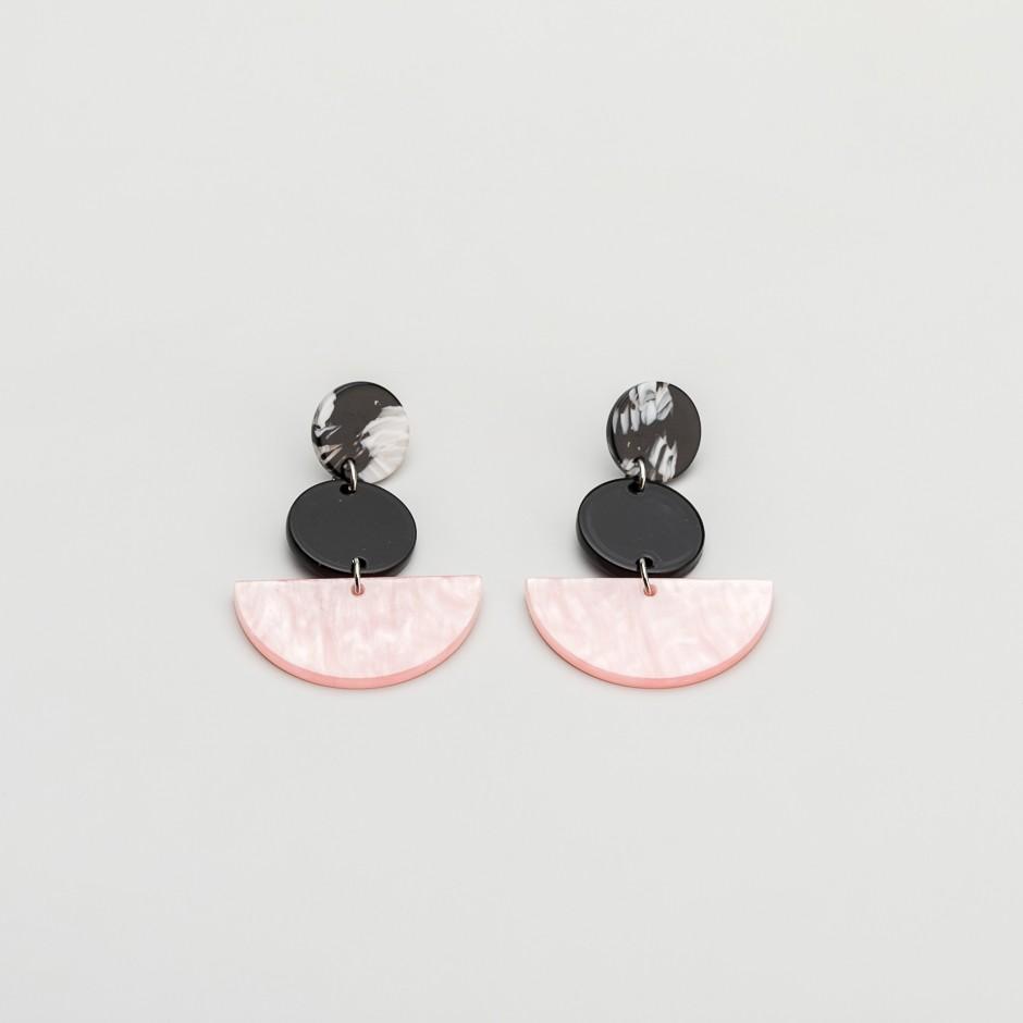 Pendiente semicírculo rosa