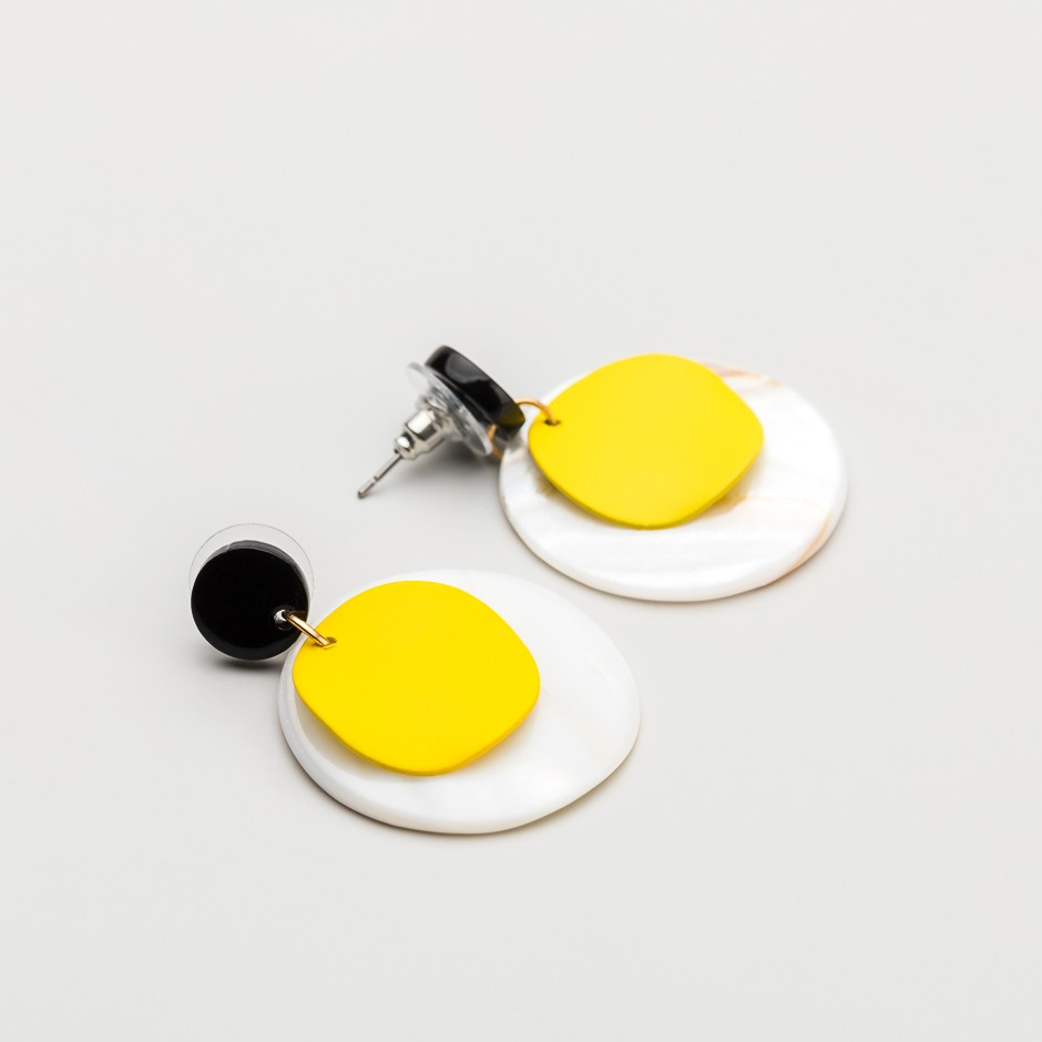 Pendiente disco yellow & white