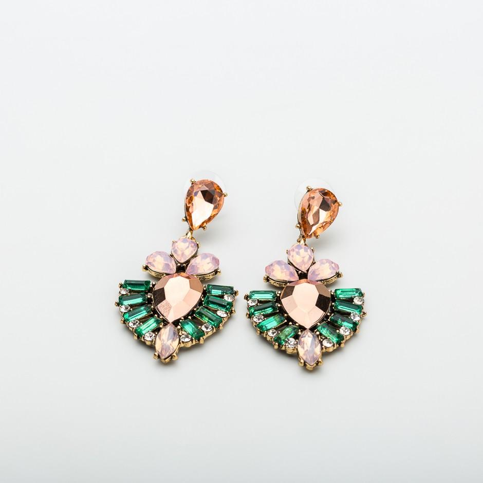 Pendiente multi rosa - verde