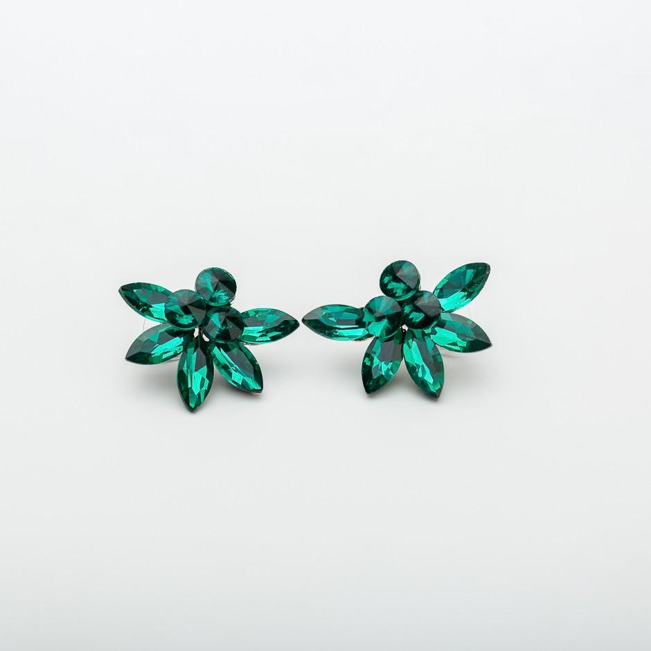 Pendiente flor real esmeralda