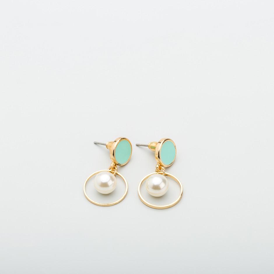Pendiente mini perla verde