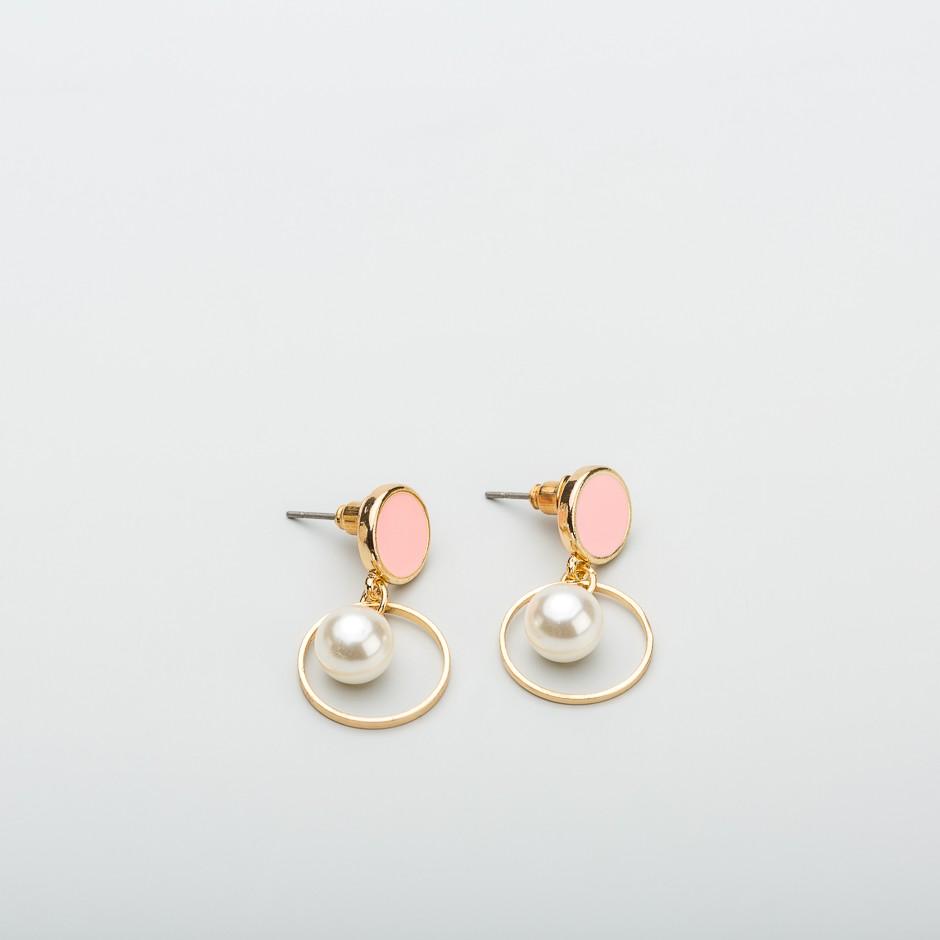 Pendiente mini perla rosa