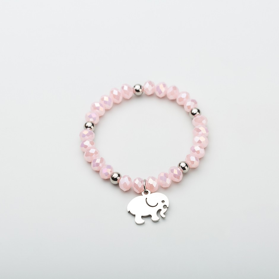 Pulsera pink elefante plateado