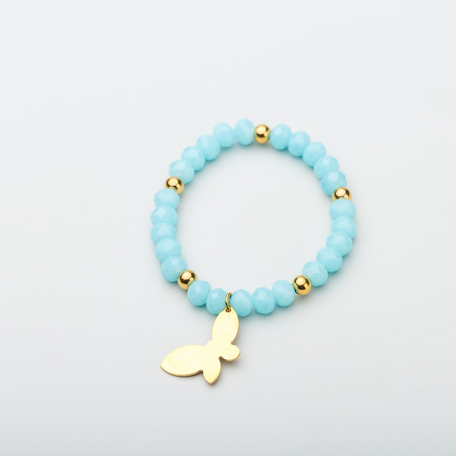 Pulsera blue mariposa dorada