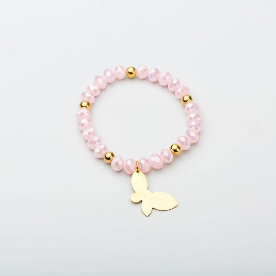 Pulsera pink mariposa dorada
