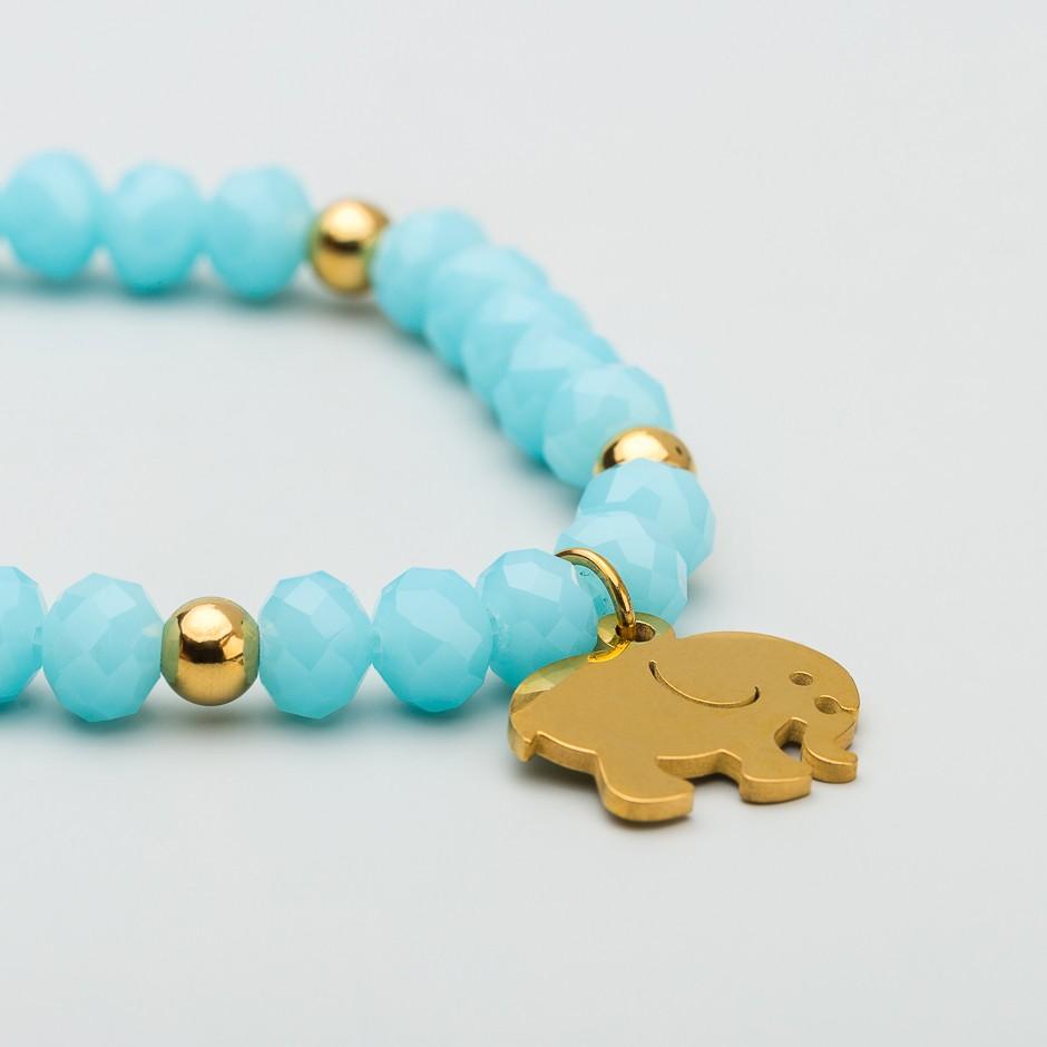 Pulsera blue elefante dorado