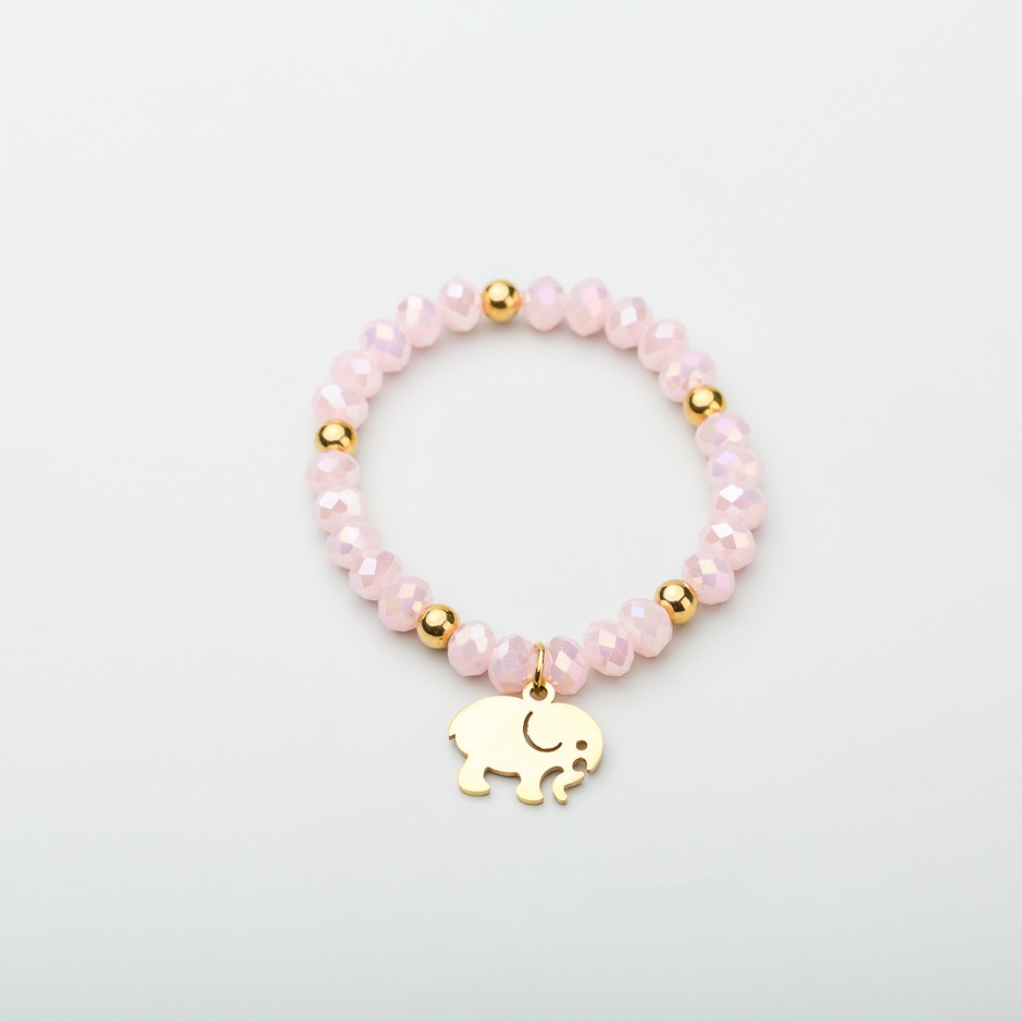 Pulsera pink elefante dorado