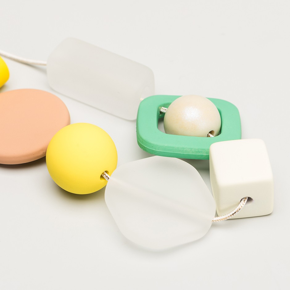 Collar piezas verde perla
