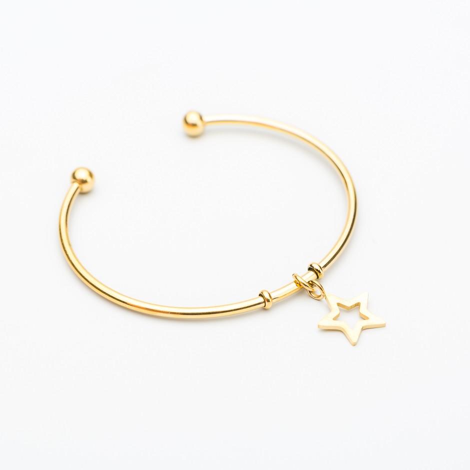 Pulsera acero star dorada