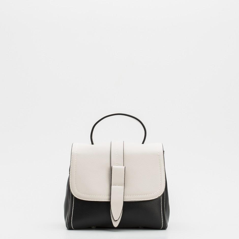Bolso satchel negro y beige
