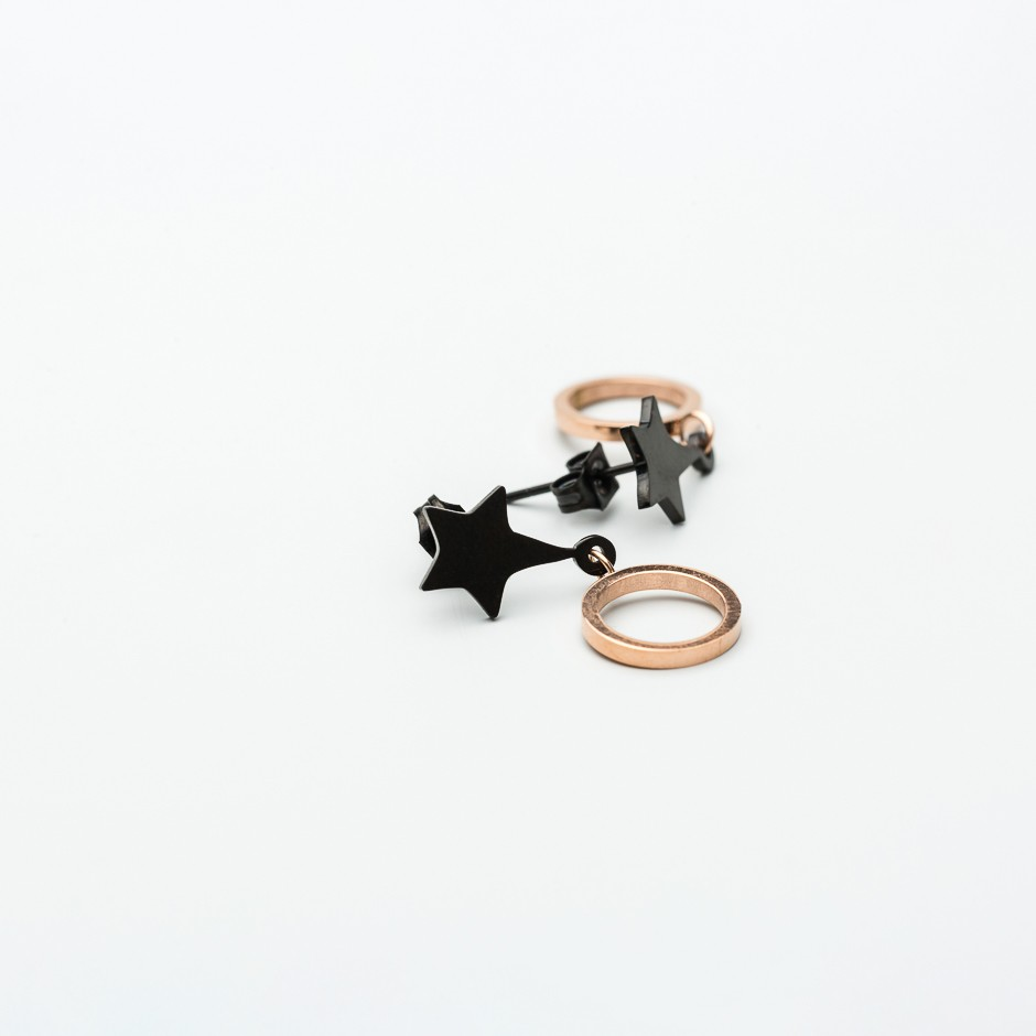 Pendiente LEAH star & circle rosé