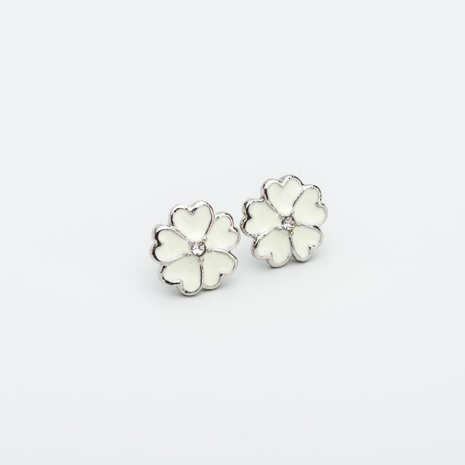Pendiente flower esmaltada blanca