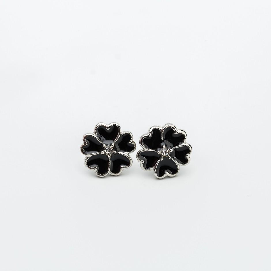 Pendiente flower esmaltada negra