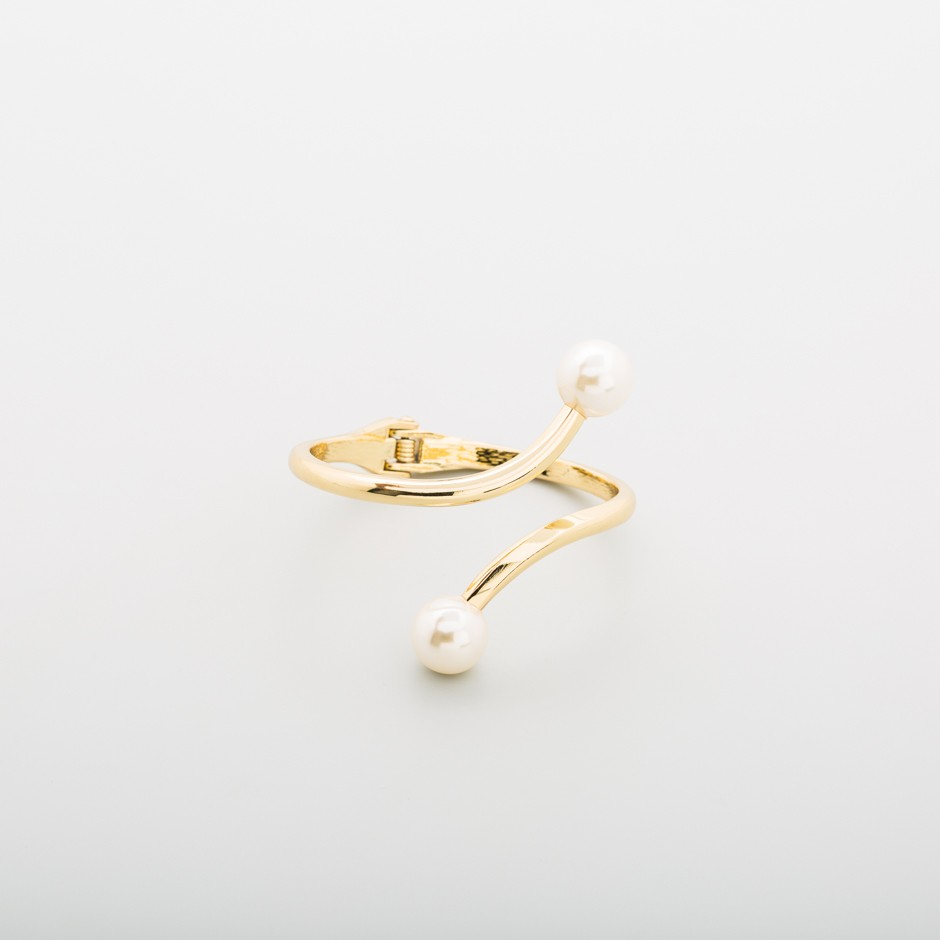 Brazalete dorado doble perla