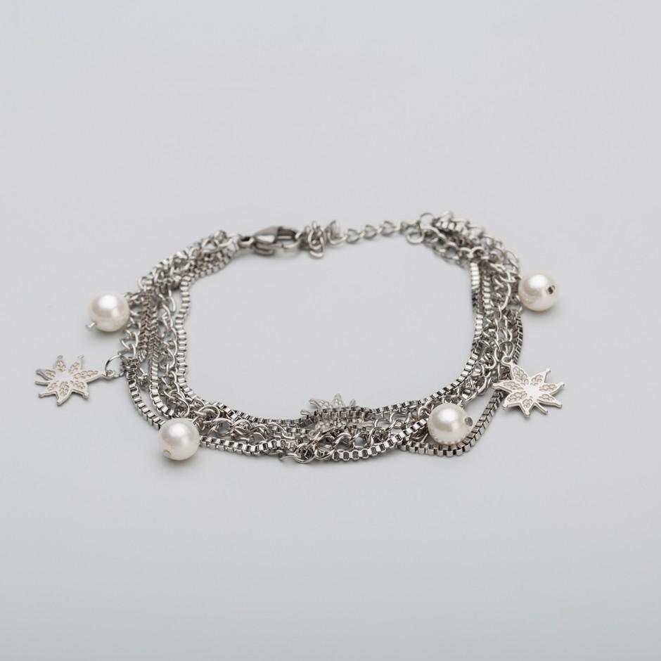 Pulsera acero cadenas y mini perlas