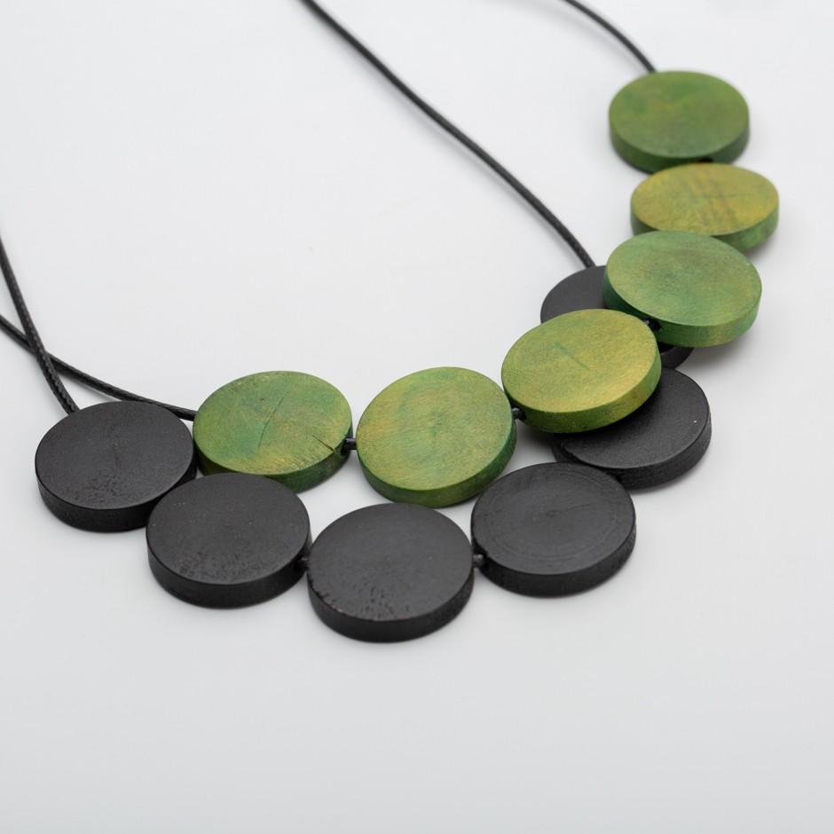 Colgante mini discos verde y negro