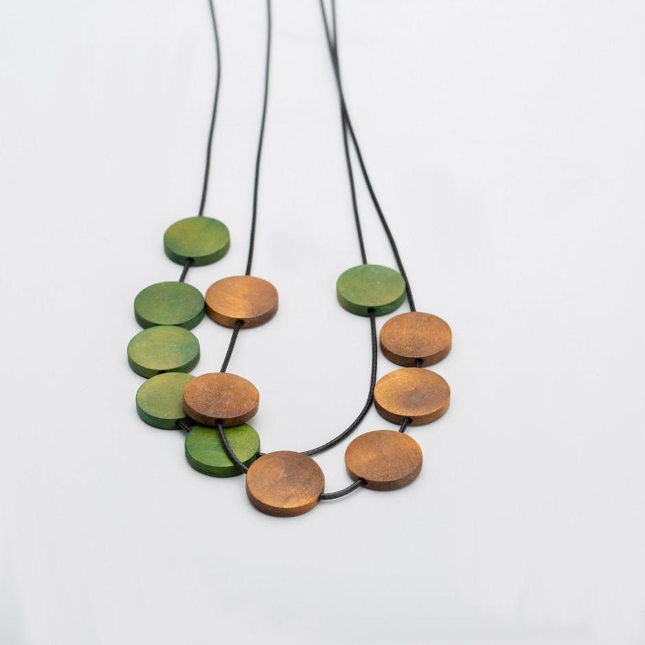 Colgante mini discos verde y marrón