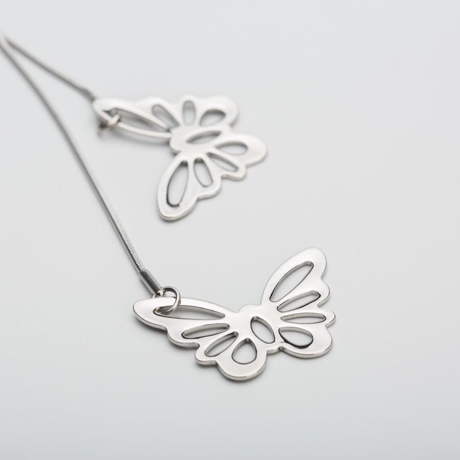 Colgante acero dúo mariposas