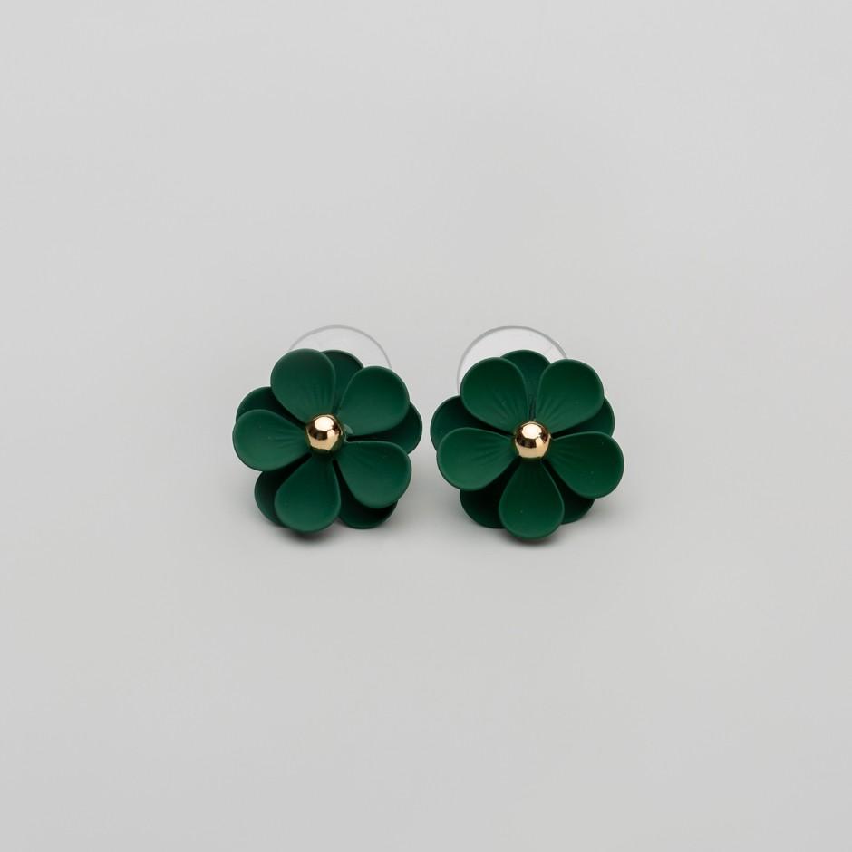 Pendiente flor verde