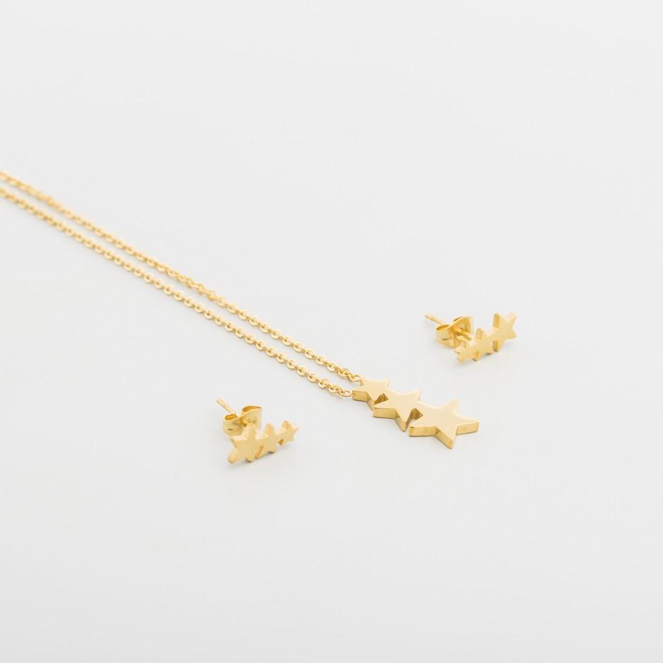 Set acero estrellas doradas