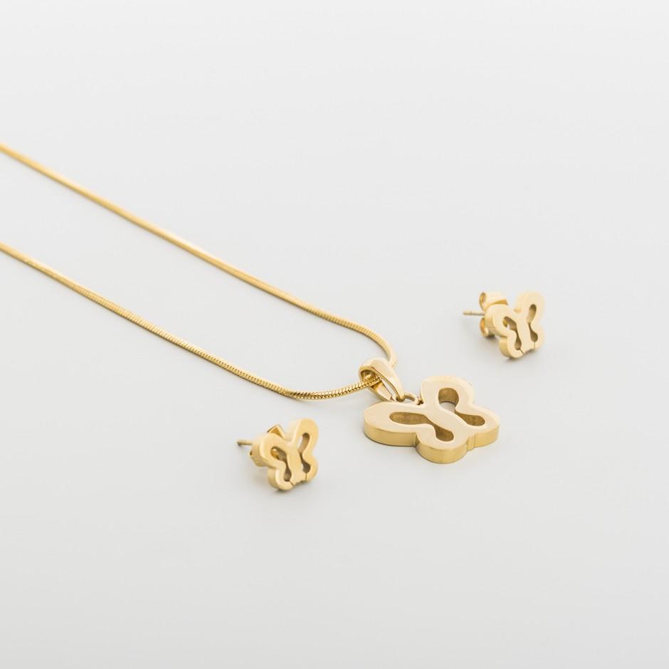 Set acero mariposa dorada