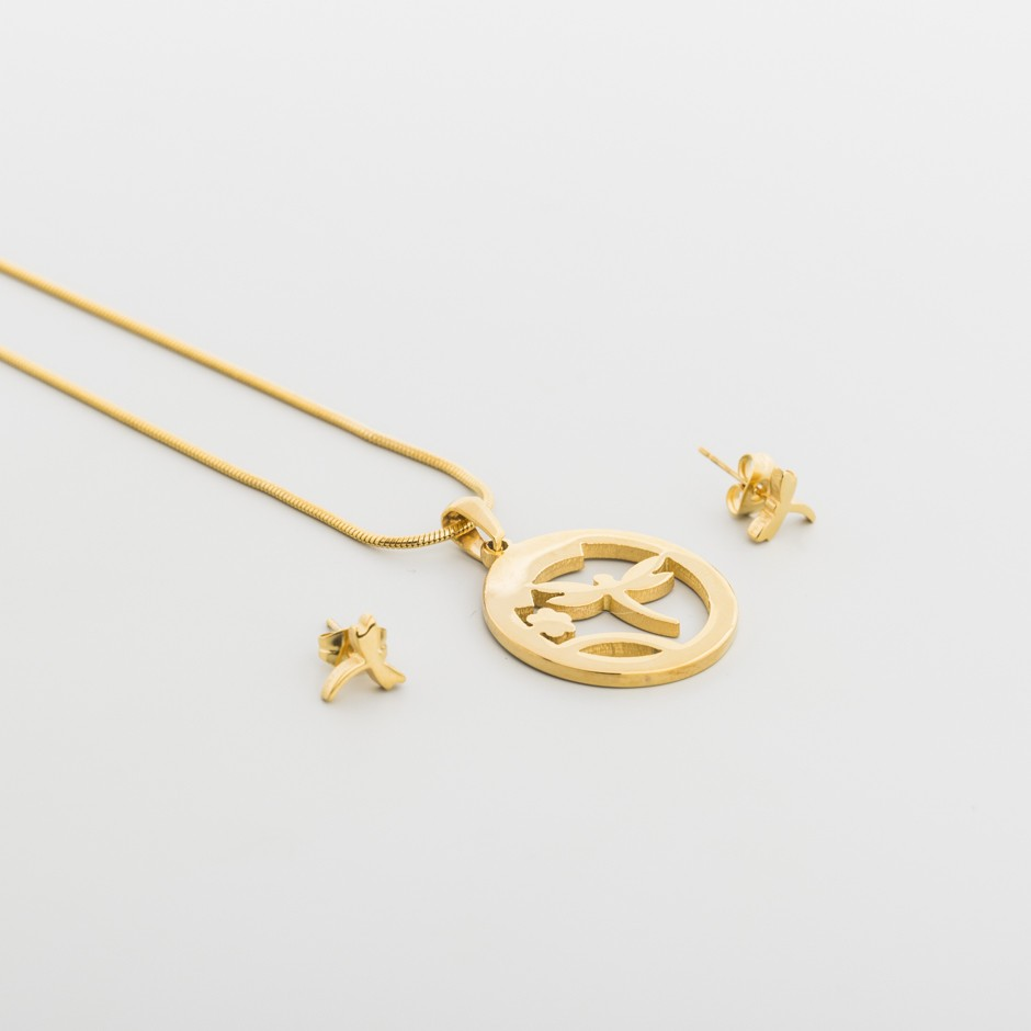 Set acero circular dorado