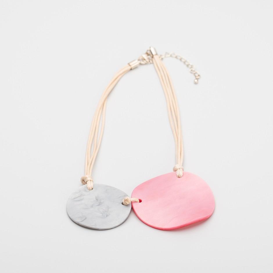 Collar disco rosa y gris