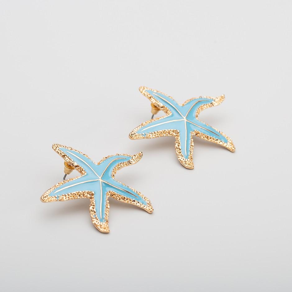 Pendiente estrella de mar turquesa