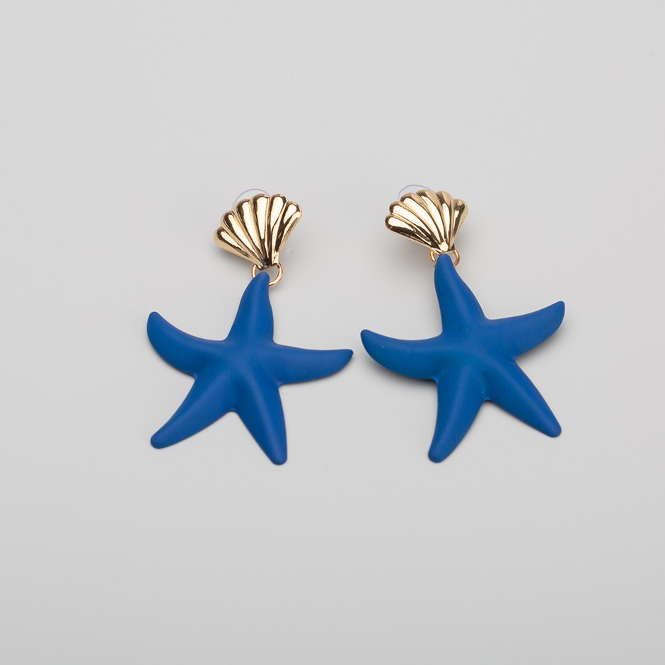 Pendiente estrella de mar azul