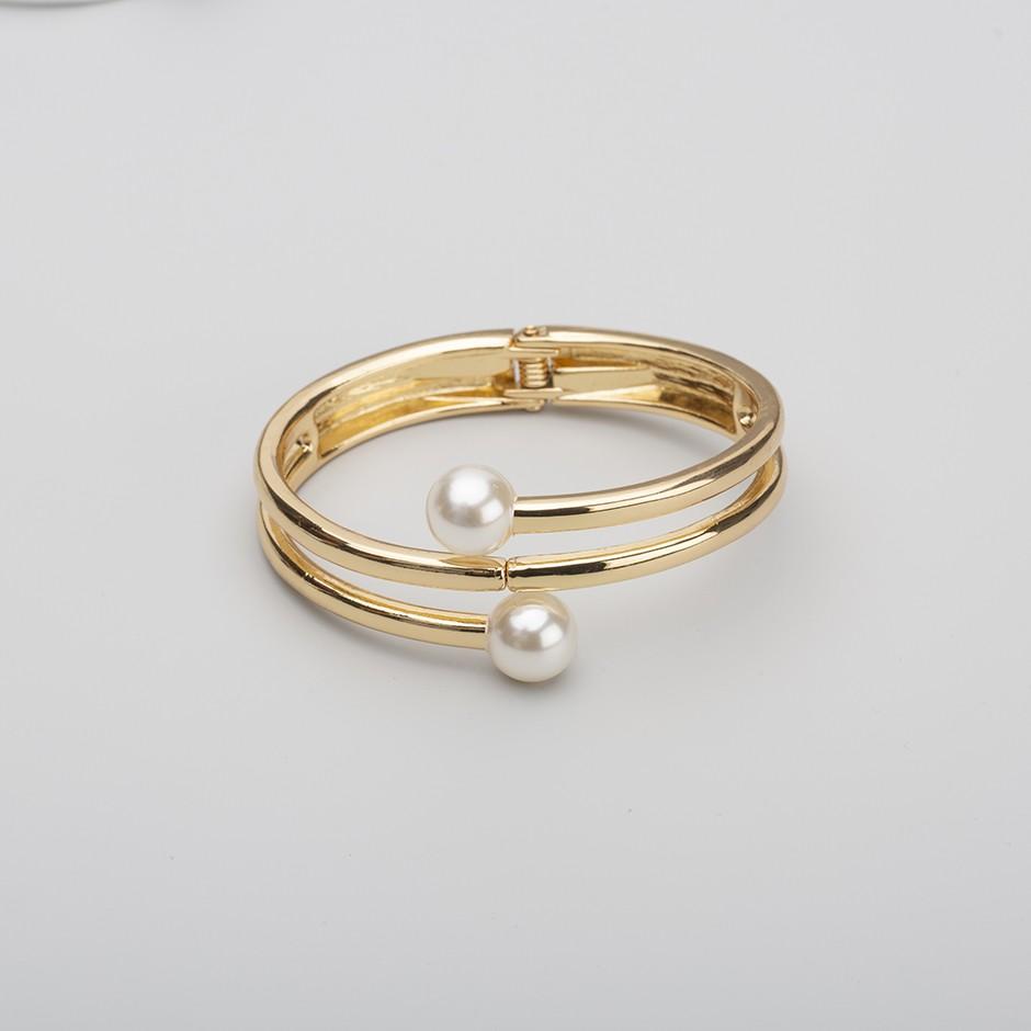 Brazalete perla dorado