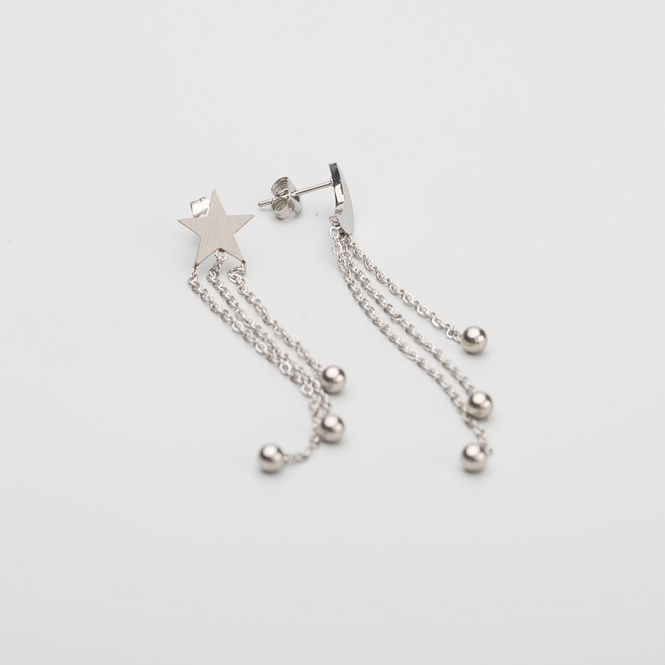 Pendiente star & moon long silver
