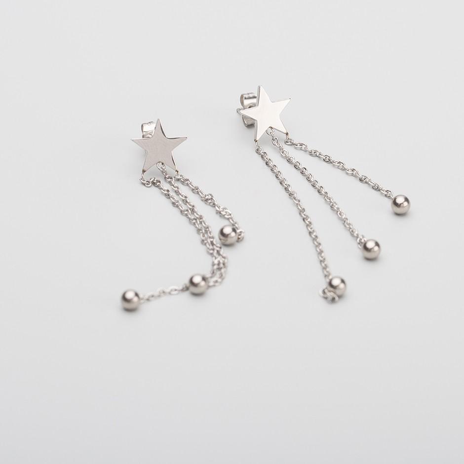 Pendiente estrella long silver